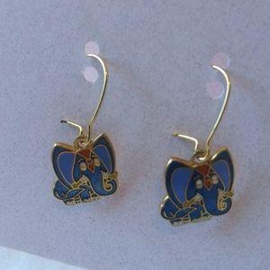 Vintage Aviva Blue Elephant Earrings